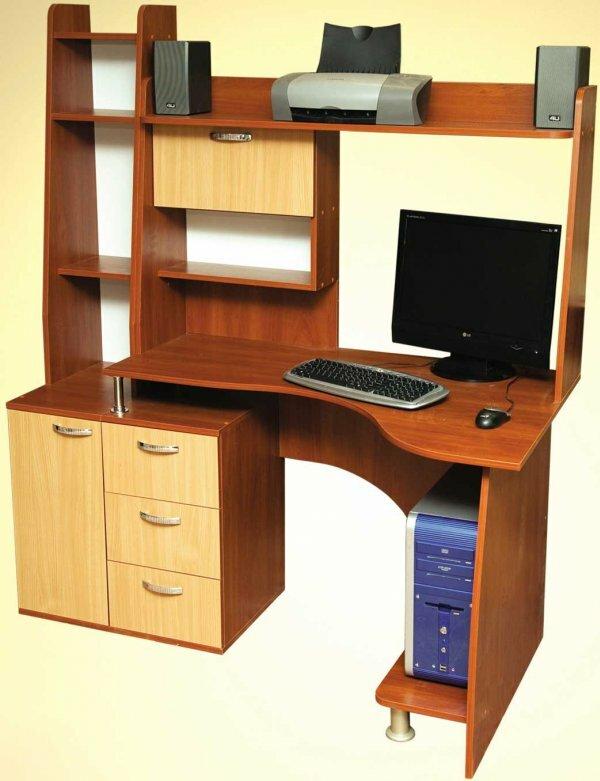 Угловой стол с полкой для принтера и колонок