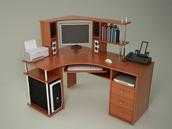 Угловой стол с отдельной тумбой для системного блока