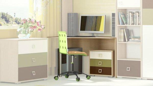 Компактный стол с боковым стеллажом