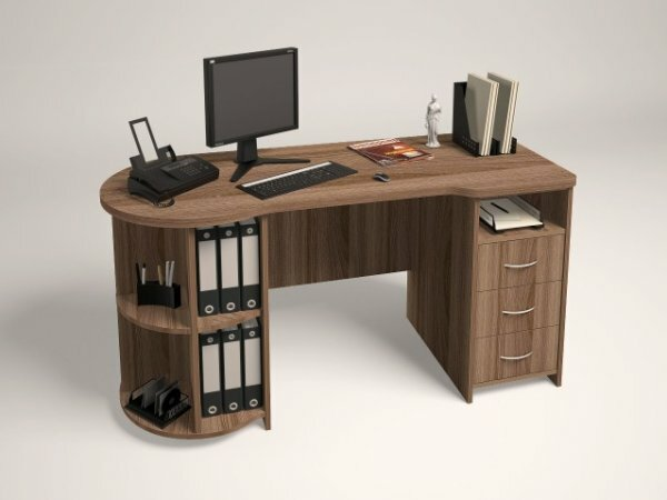 Письменный стол с нижними полками и тумбой