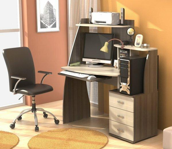 Угловой мини-офис со стеллажом и тумбой