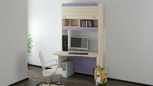 Стол из светлого шпона со шкафчиками