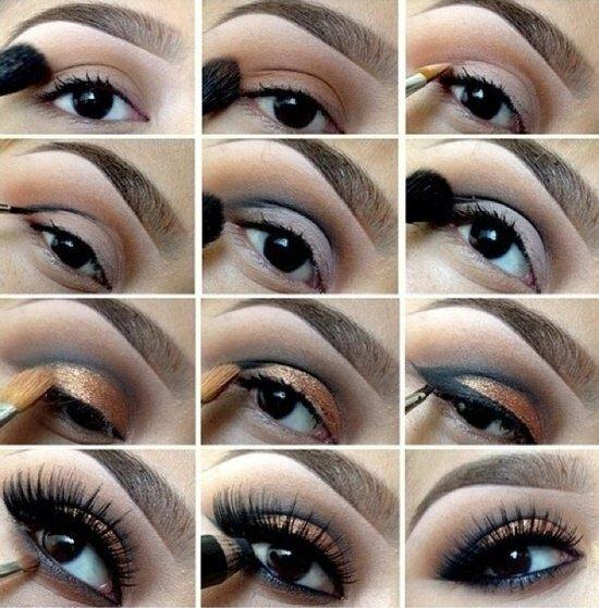 Пошаговый макияжа для карих глаз