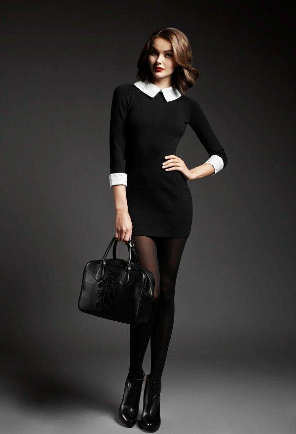 Фото модного платья, дополненного стильным воротником и манжетами