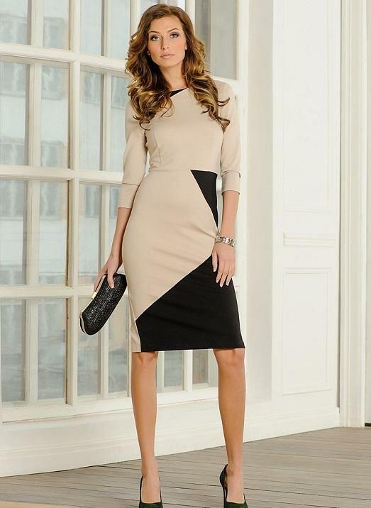 Фото оригинального сочетания бежевого и черного. Такое платье впишется в деловой стиль, но не даст забыть, что в первую очередь вы леди