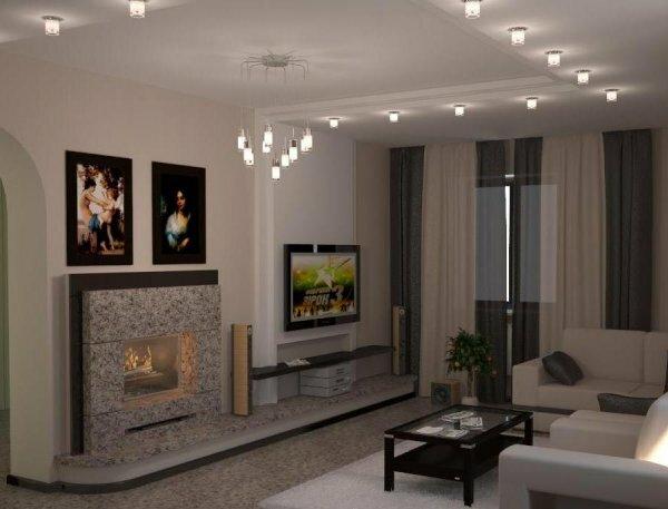 Современный дизайн камина в гостиной