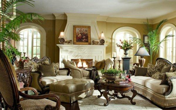 Классическая гостиная в английском стиле с камином