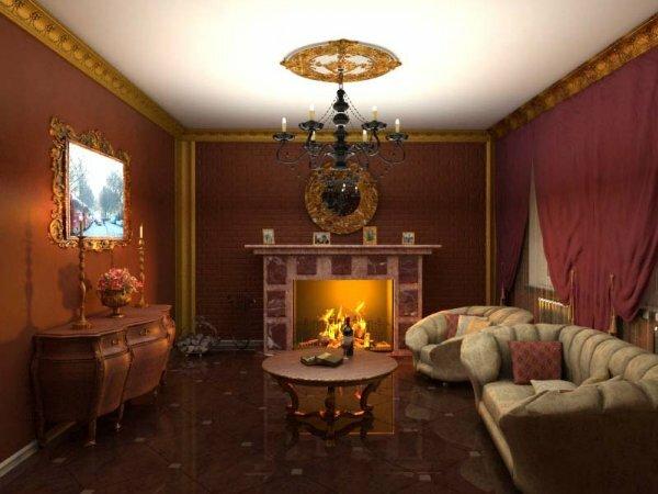 Оформление гостиных с каминами в классическом стиле