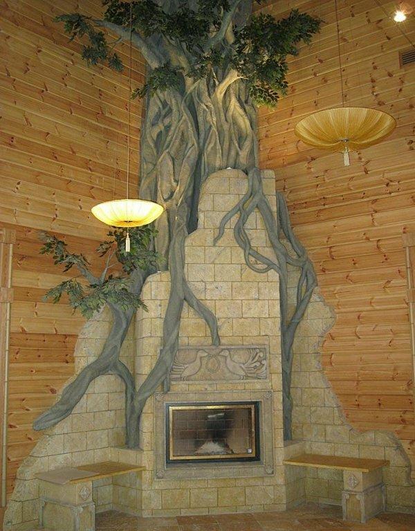 Фантазийный угловой камин сказочного стиля