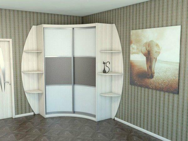 На фото пример применения в интерьере раздвижной панели для углового шкафа
