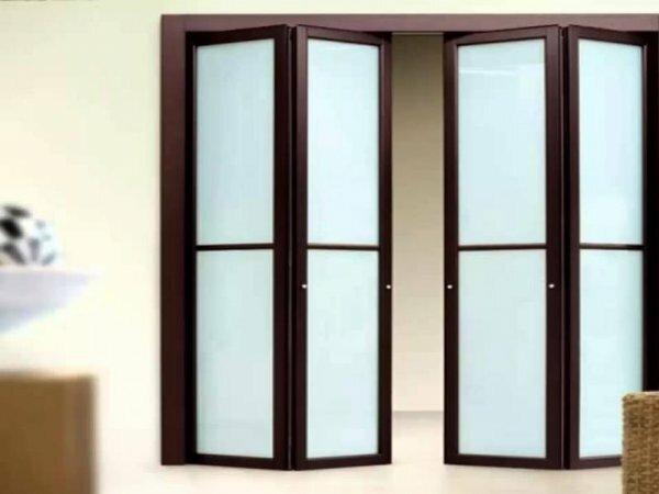 Пример складной двери с матовыми стеклами