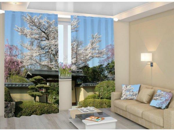 Изящная композиция 3д штор в японском стиле