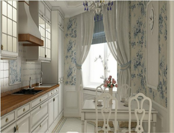 Замечательный романтический интерьер дополнен шторами синего и белого цвета