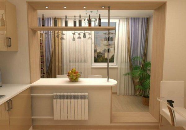 Кухня, совмещенная с маленьким балконом и разделенная с ним барной стойкой