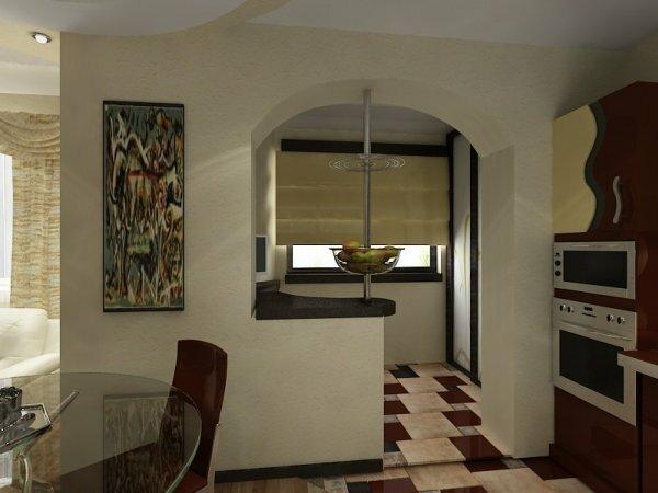 На фото маленький балкон как часть кухни