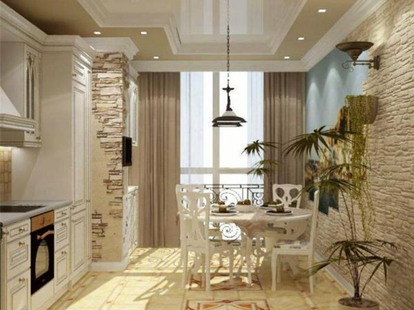 Кухня, совмещенная с балконом и отделанная камнем