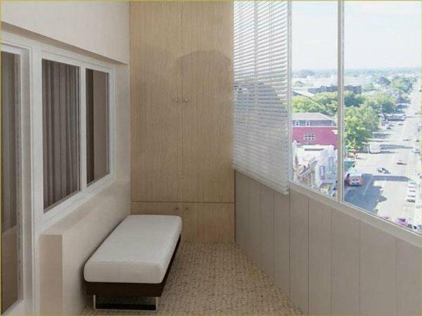 На фото современный и простой дизайн балкона в панельном доме