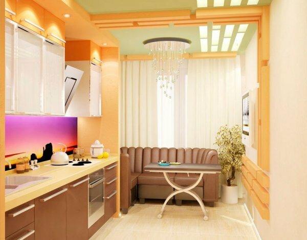 Фотография современной кухни, совмещенной с балконом