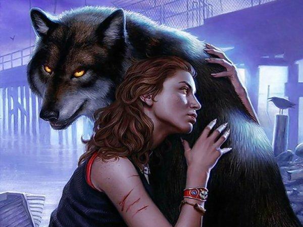Необычное изображение девушки с волком
