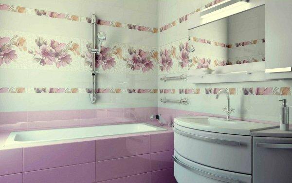 Много цветов не бывает. На фото отделка ванной комнаты кафельной плиткой с флористичным дизайном