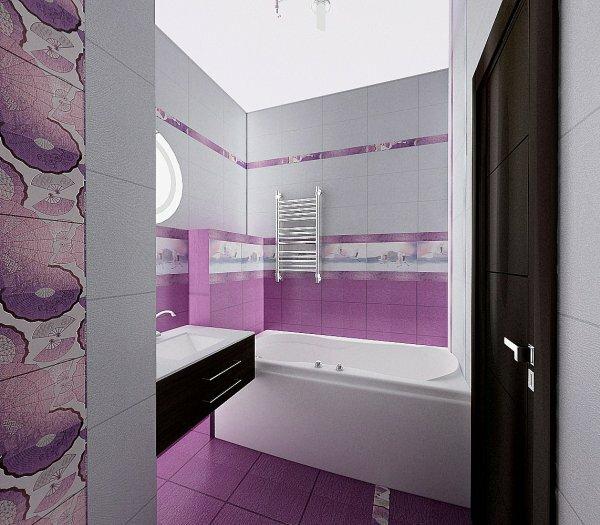 Секрет удачного дизайна маленькой комнаты – фиолетовая итальянская керамическая плитка