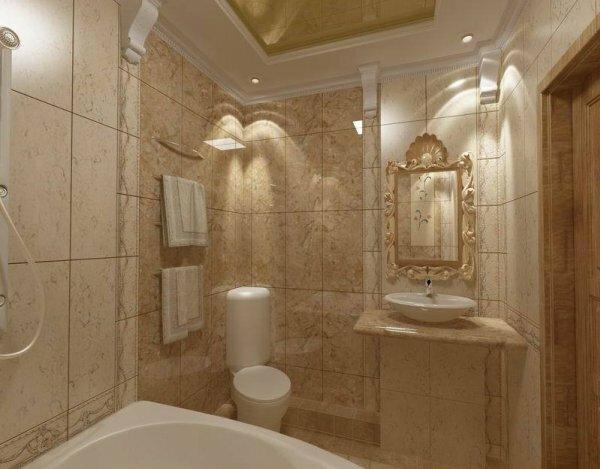 На фотографии маленькая ванная комната в римском стиле