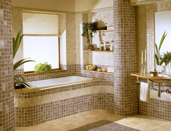 Коричневая мозаика в ванной комнате