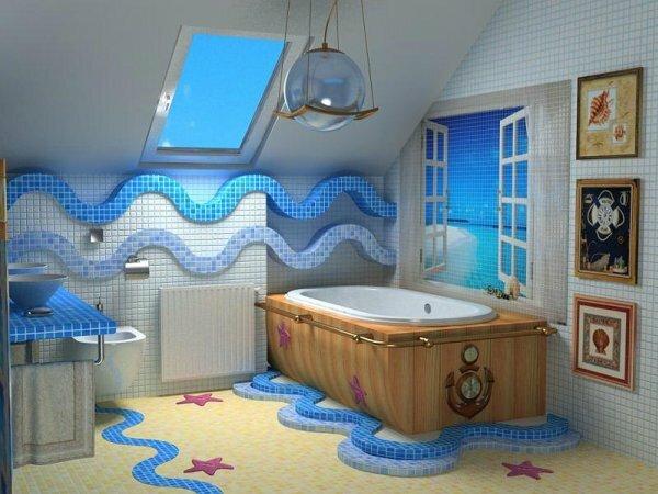 Креативная и оригинальная ванная комната с отделкой из мозаики