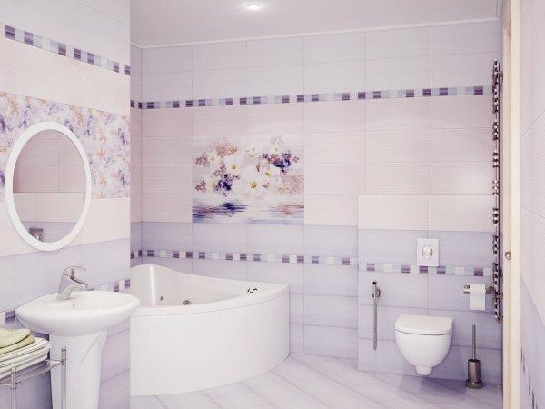 Модная отделка ванной комнаты светлой керамической плиткой