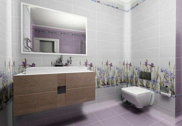 На фотографии плитка для ванной Ирис от компании Керамин, оригинальный и нежный дизайн
