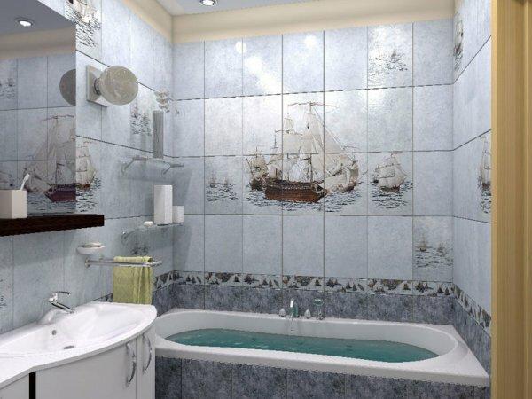На фото красивое панно на кафельной плитке в ванной комнате