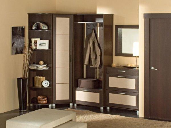 Стильная прихожая с угловым шкафов, зеркалам и открытой вешалкой
