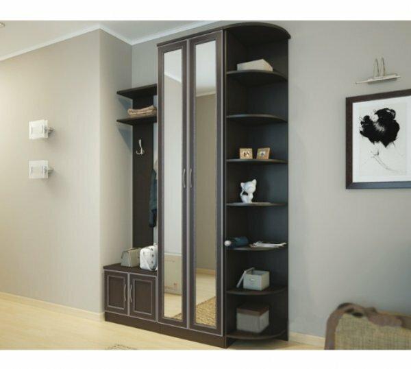 Шкаф с зеркальными дверями в дизайне угловой прихожей
