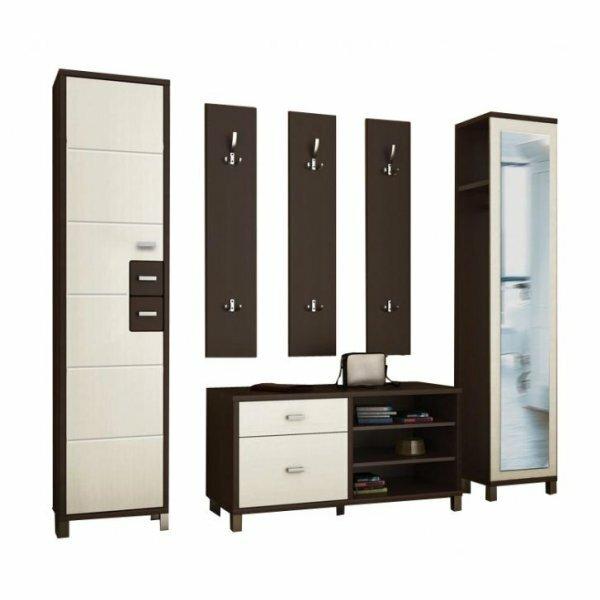 Корпусная модульная мебель прихожей для узкого коридора