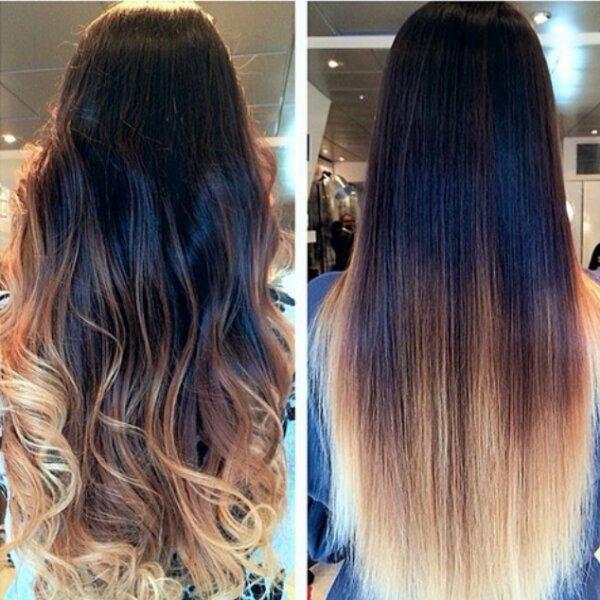 Эффект волнистых и прямых волос в сочетании с окрашиванием омбре