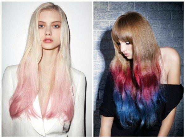 Смелые цветные варианты для светлых волос