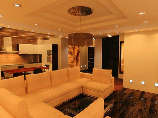 Различные варианты светового оформления совмещенной с гостиной кухни