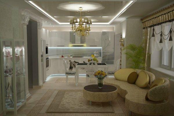 Деление на зоны в классическом варианте легко осуществить при помощи мебели, будь то диван, большой обеденный стол или камин