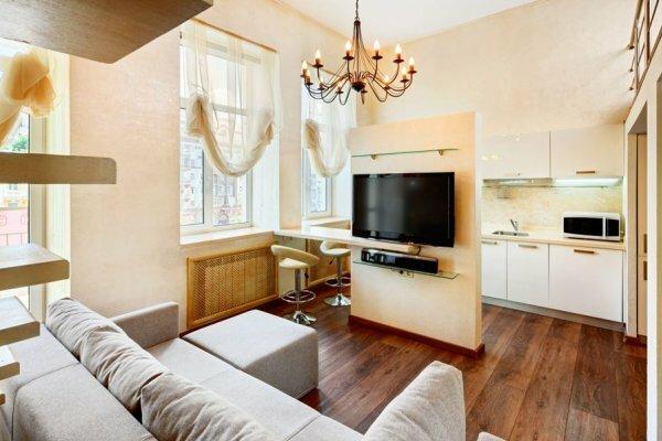 Выделение зоны гостиной при помощи барной стойки и части стены с телевизором