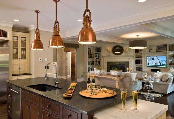Оформление пространства кухни и гостиной в различных стилях
