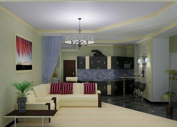 Пример нестандартной планировки помещения, разделенного с помощью различного цветового оформления
