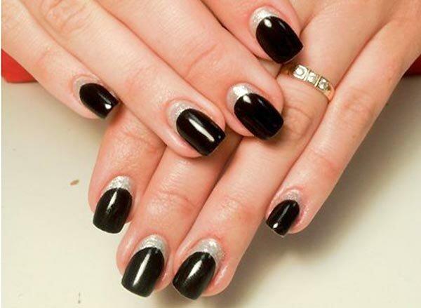 «Обратный» черно-серебряный френч