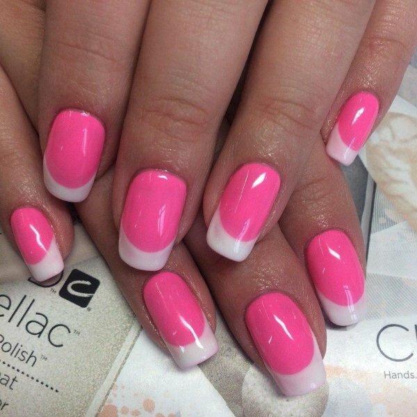 Бело-розовый френч