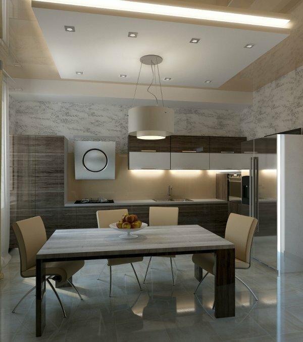 Сочетание светильников различного типа на кухне