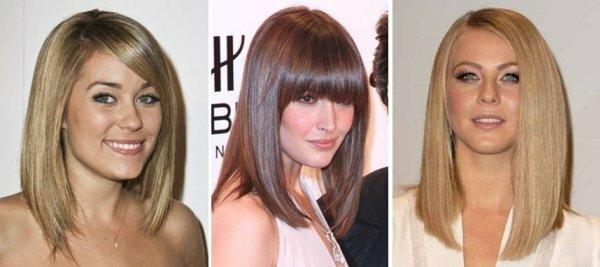 Три варианта удлиненного каре средней длины – с косой челкой и вовсе без нее – меняют лицо