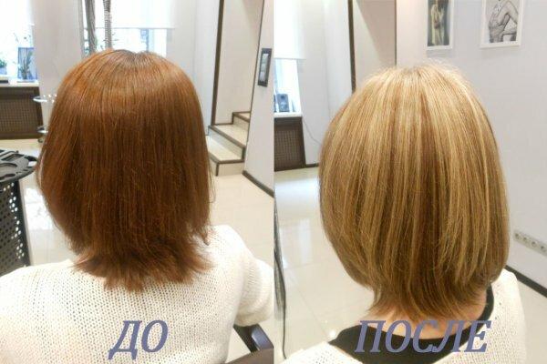 Светло-каштановый цвет волос после мелирования превратился в почти русый