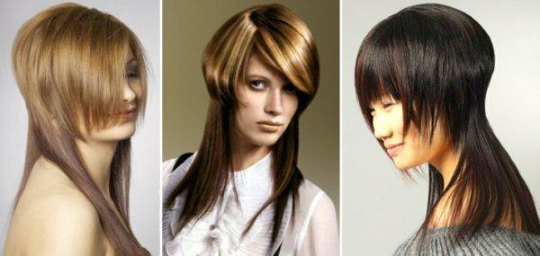 Вот так необычно можно уложить рваный каскад на длинные волосы