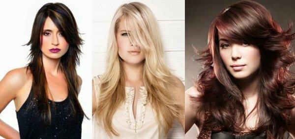 Косая чёлка разной длины и формы меняет форму причёски