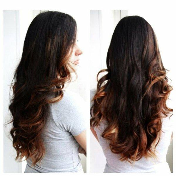 Двойной каскад на длинные волосы с эффектом «мокрых» волос