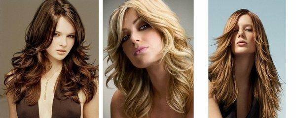 Такие разные варианты укладки каскада на длинные волосы без чёлки